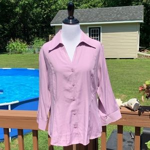 Dress Barn Lilac Button Down Top Tulip Sleeve NWT